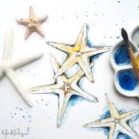 {Sea Stars}: Invitatii acuarela cu stele de mare pentru nunta cu tema maritima