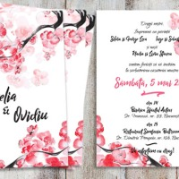 {Sakura}: Invitatii nunta cu flori de cires japonez