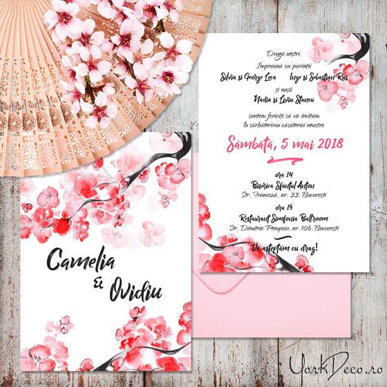 Sakura Invitatii Nunta Cu Flori De Cires Japonez Yorkdeco