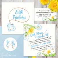 {Elixir}: Invitatii de nunta de primavara cu papadii pictate in acuarela si sticker personalizat
