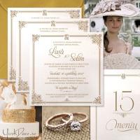 {A Royal Affair}: Invitatii nunta regale, in nuante de ivoire si auriu, cu ornamente elegante si monograma
