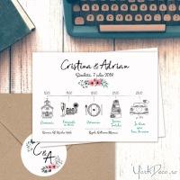 {Indie}: Invitatii moderne cu programul nuntii si sticker personalizat