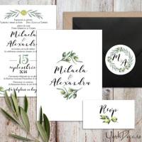 {Toscana}: Invitatii pentru nunta mediteraneana cu ramuri de maslin