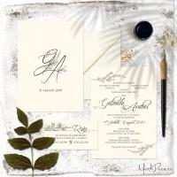{Flora}: Invitatii de nunta ivoire auriu, cu monograme florale