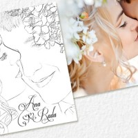 Invitatie cu portret miri si flori de cires
