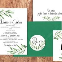 Invitatii si accesorii de nunta ilustrate cu frunze