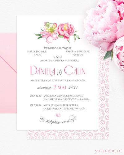 Invitație de nuntă la comandă cu bujori